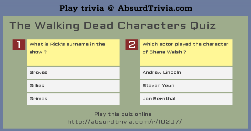 The Walking Dead Characters Quiz