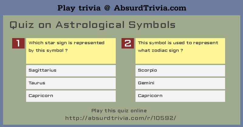 Trivia Quiz Quiz On Astrological Symbols