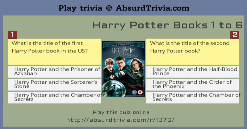 Harry Potter Book Quiz ~ Harry potter books to quiz
