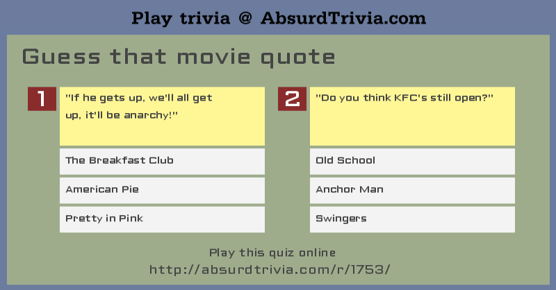Trivia Quiz Guess That Movie Quote Fascinating Movie Quote Trivia