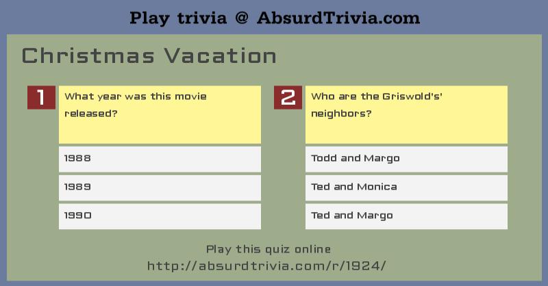 Trivia Quiz : Christmas Vacation