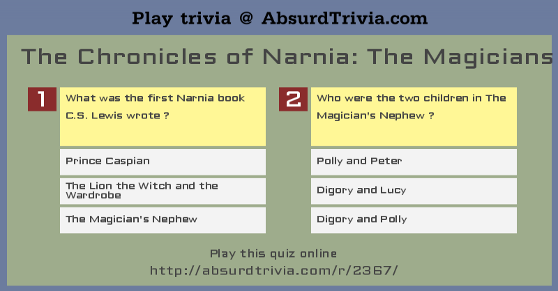 Trivia Quiz The Chronicles Of Narnia The Magicians Nephew