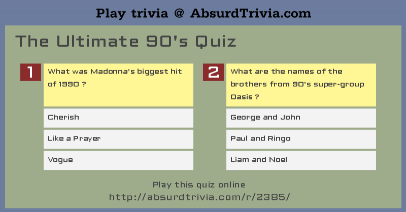 The Ultimate 90's Quiz