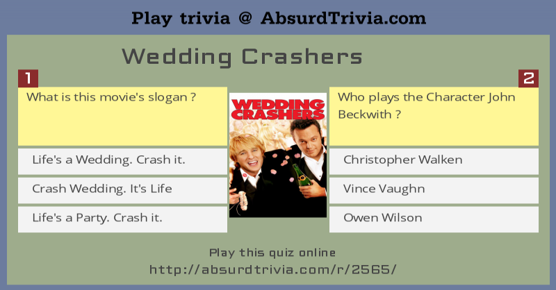 Trivia quiz wedding crashers junglespirit Choice Image