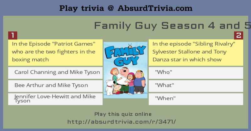 Family Guy Season 4 And 5 Quiz
