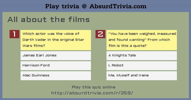 Trivia Quiz All About The Films