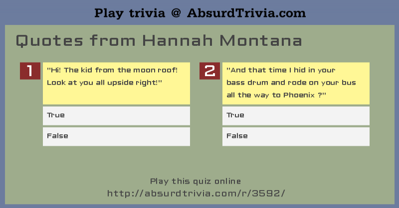 Quotes Quiz Entrancing Trivia Quiz  Quotes From Hannah Montana