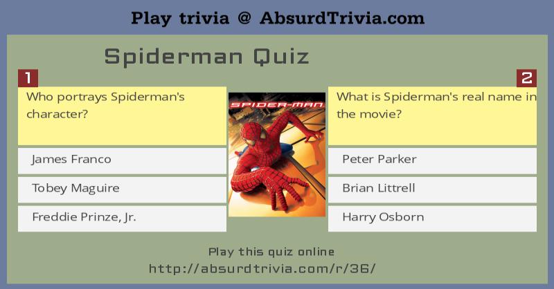 Spiderman Quiz Tobey Maguire