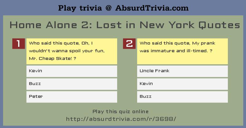 Trivia Quiz Home Alone 2 Lost In New York Quotes
