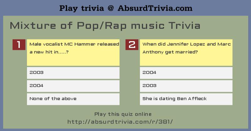 Mixture Of Pop Rap Music Trivia