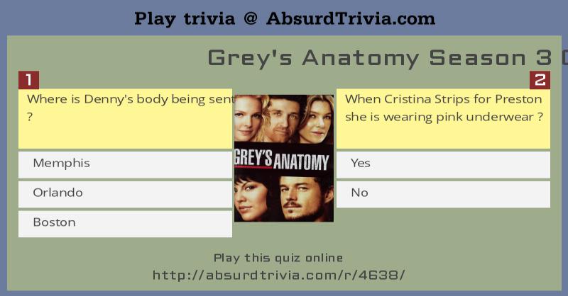 Grey\'s Anatomy Season 3 Quiz