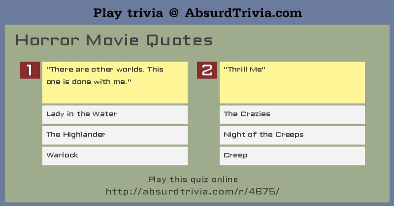 Trivia Quiz Horror Movie Quotes Simple Quotes Quiz