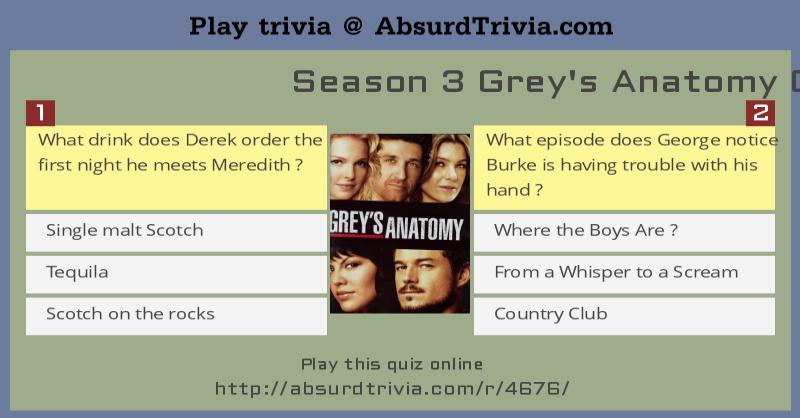 Season 3 Grey\'s Anatomy Quiz