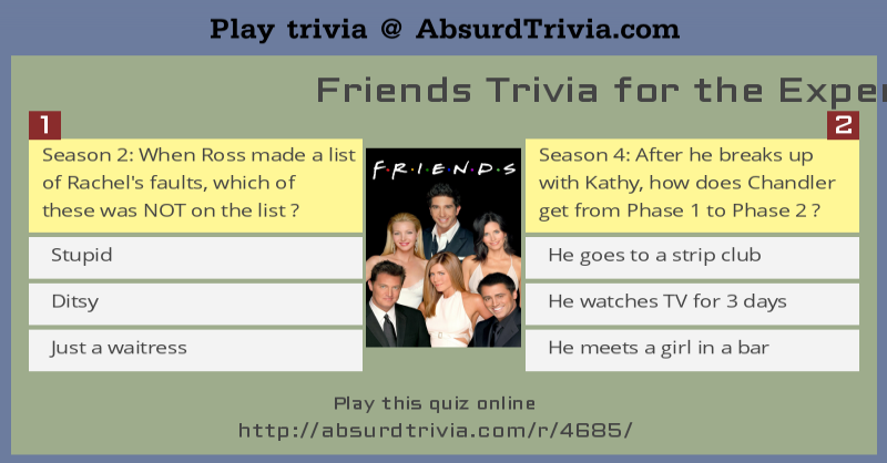 Friends Trivia for the Experts