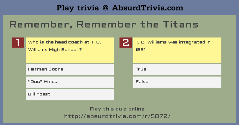 Trivia Quiz Remember Remember the Titans – Remember the Titans Worksheet