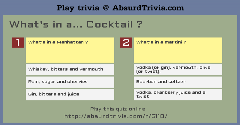 Trivia Quiz What 39 S In A Cocktail