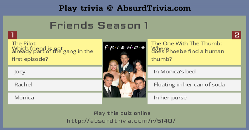 Trivia Quiz : Friends Season 1
