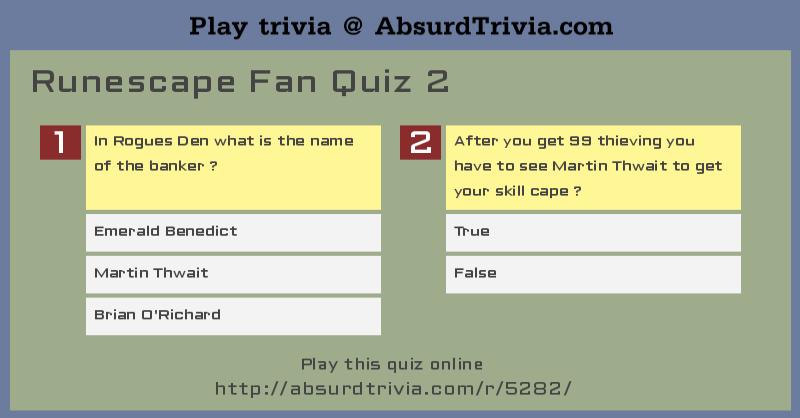 Runescape Fan Quiz 2