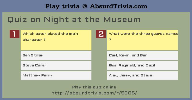 Caveman Quiz : Trivia quiz on night at the museum