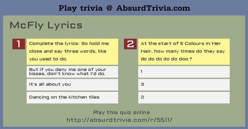 Trivia Quiz : McFly Lyrics