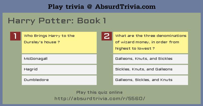 Harry Potter Book Quiz ~ Quelques liens utiles