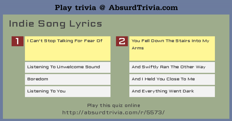 Trivia Quiz : Indie Song Lyrics