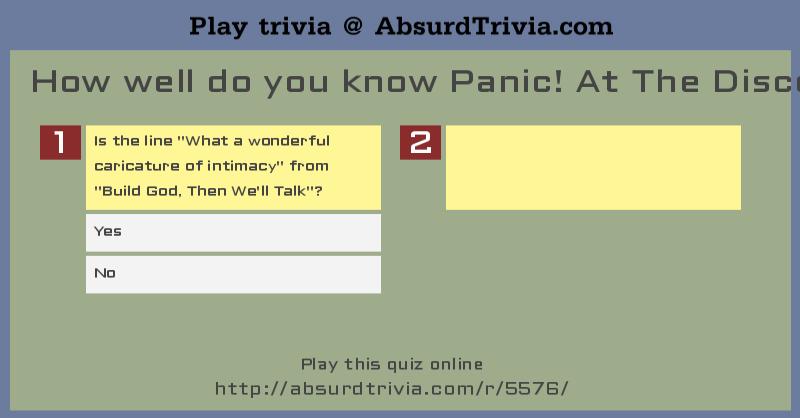 Trivia Quiz How Well Do You Know Panic At The Disco Lyrics