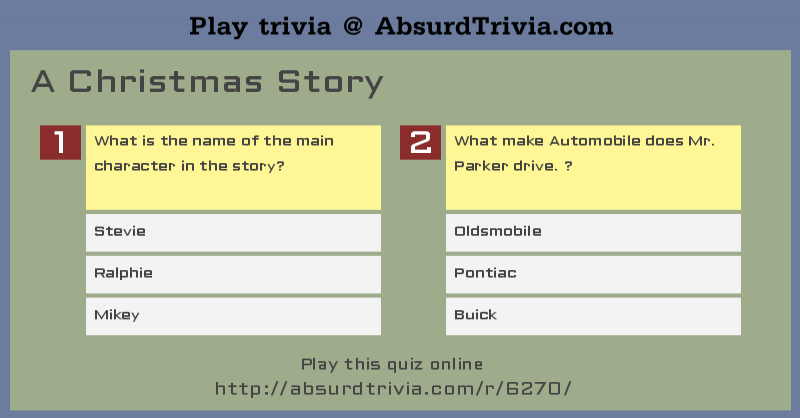 trivia quiz a christmas story - A Christmas Story Online