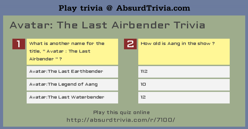 Avatar: The Last Airbender Trivia and Quizzes