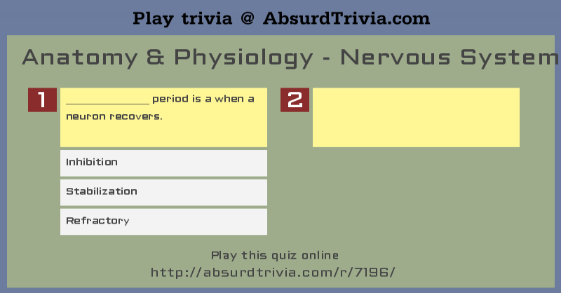 Trivia Quiz : Anatomy & Physiology - Nervous System/CNS - Pt. 1