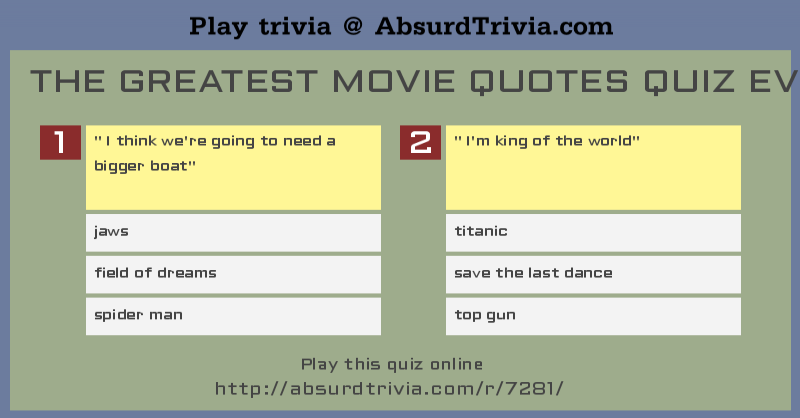 Quotes Quiz Delectable The Greatest Movie Quotes Quiz Ever