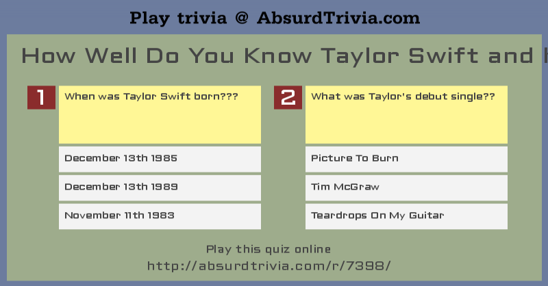 Trivia Quiz How Well Do You Know Taylor Swift And Her Songs