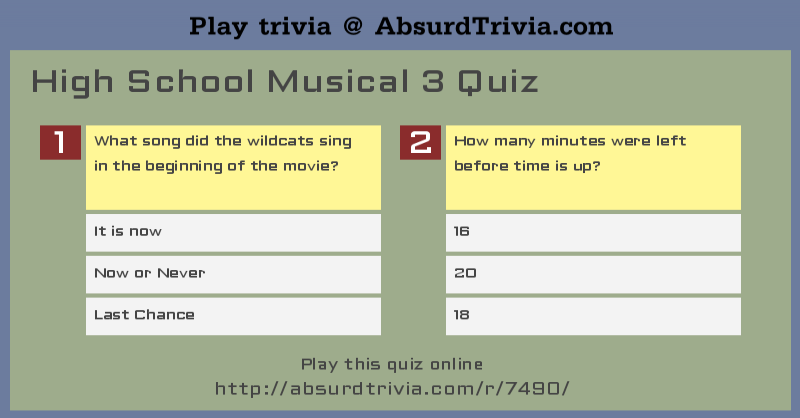 High School Musical 3 Quiz
