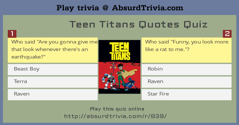 Quotes Quiz Inspiration 839Teentitansquotesquiz