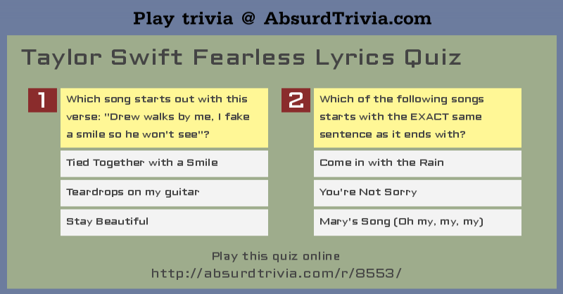 Taylor Swift Fearless Lyrics Quiz