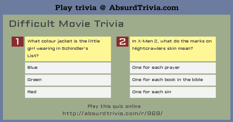 Difficult Movie Trivia