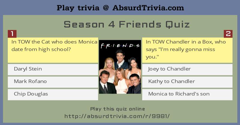 Season 4 Friends Quiz